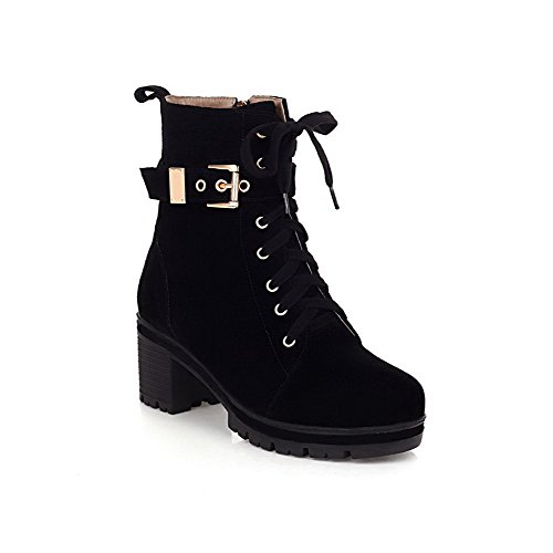 AmoonyFashion Womens Round-Toe Closed-Toe Kitten-Heels Boots With Button Black j7RZkt0