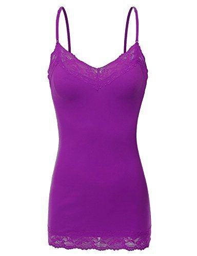 (RT1004 Ladies Adjustable Spaghetti Strap Lace Trim Long Tunic Cami Tank Top Purple S)