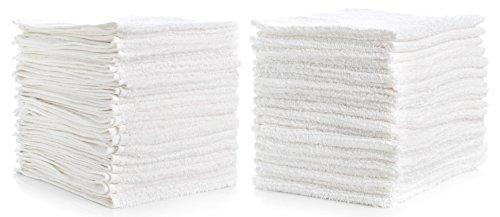 "Kitchen Bar Mop Cleaning Towels (Pack of 12) 14"" x 17"" - Soft Plush Pure Cotton White Terry Towels, Kitchen Towels, Restaurant Cleaning, Shop Towels (Towels Cotton Terry)"