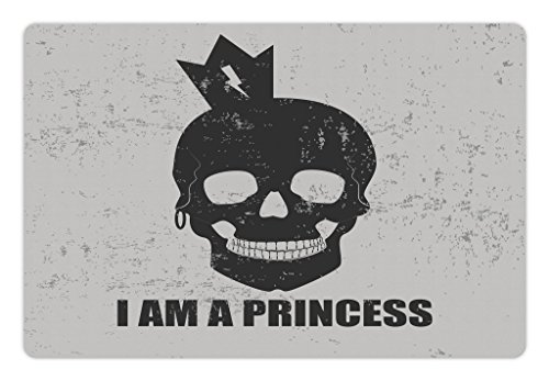Ambesonne I am a Princess Pet Mat for Food and Water, Skull with a Crown Skeleton Halloween Theme Grunge Look, Rectangle Non-Slip Rubber Mat for Dogs and Cats, Charcoal Grey and Pale Grey ()