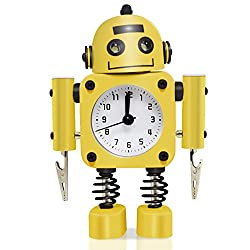 Betus Non-ticking Robot Alarm Clock Stainless Metal - Wake-up Clock with Flashing Eye Lights and Hand Clip - 4.5 x 6.5 x 2 (Yellow)