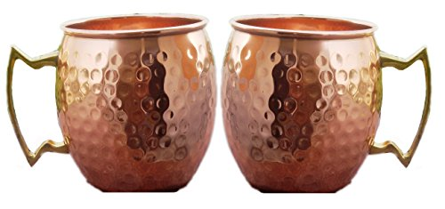 STREET CRAFT Large Pure Copper Mugs Hand Hammered Copper Moscow Mule Mug Handmade of 100% Pure Copper Brass Handle Hammered Moscow Mule Mugs Cups Capacity 24 Oz