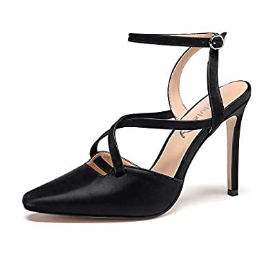 vivianly Women Slingback Stiletto Heels Pointed Toe Pumps Ankle Strap Buckled Sandals Dress Casual Party Wedding Shoes Black