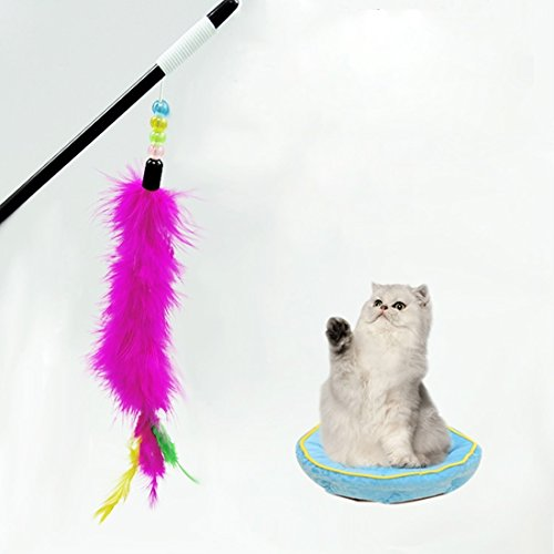 (Happy-L Pet Supplies, Soft Light Cony Hair Toy Colorful Plastic Feather Bar Pet Toys with)