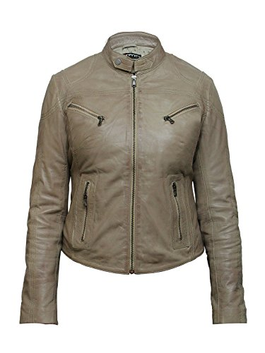 Biege Leather (Brandslock Womens Vintage Leather Biker Jacket (XL, Biege))