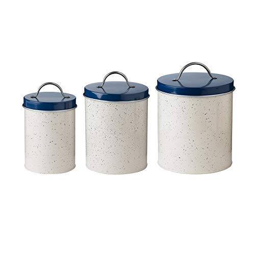 Christopher Kimball's Milk Street Metal Canister Set, Speckled Cream and Navy Blue Food Safe Countertop Storage Containers, Nesting Set of -