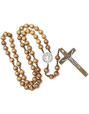 SupremeLife Halsband mode handgjorda runda träpärlor Catholic Wall Rosary Cross religious Necklace