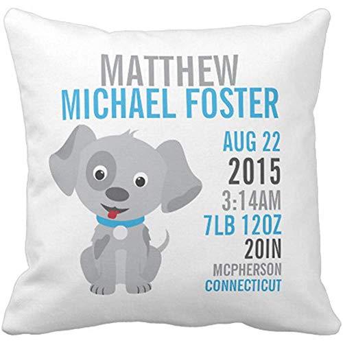 Throw Pillow Cover Baby Puppy Birth Announcement Nursery Newborn Decorative Pillow Case Home Decor Square 18 x 18 Inch Pillowcase
