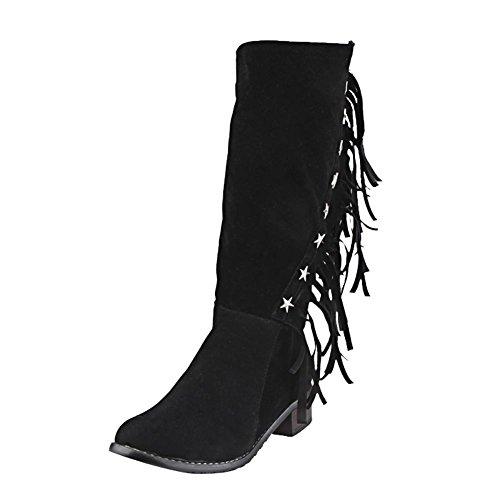 Dameslaarzen Plus Size Kwastjes Zip Rivet Vintage Midcharm Laarzen Met Lage Hak Zwart