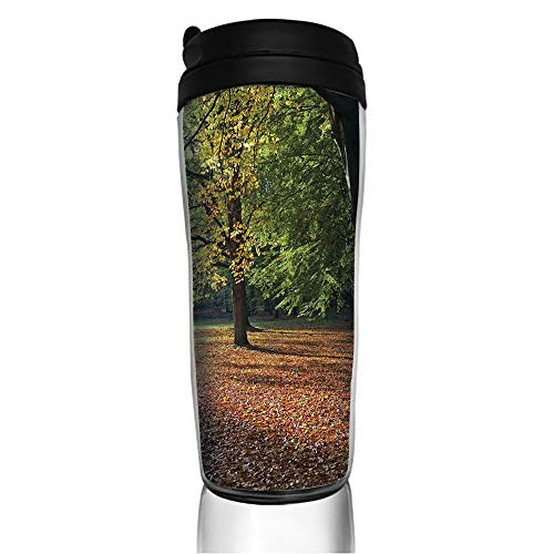 Germany Demitasse (Stainless Steel Insulated Coffee Travel Mug,Berlin Germany Forest Sightseeing Urban View Autumu,Spill Proof Flip Lid Insulated Coffee cup Keeps Hot or Cold 11.8oz(350 ml) Customizable printing)