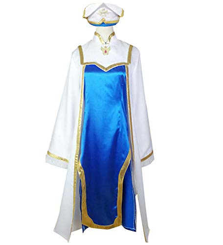 Poetic Walk Anime Goblin Slayer Onna Shinkan Cosplay Costume Princess Dress Hat Outfit (X-Large, Blue-Women)]()