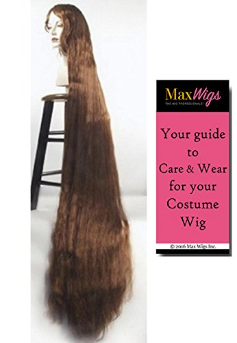 Better Discount Godiva Color BLACK - Lacey Wigs 5 ft Long Rapunzel High Theater Quality Style B1184 Bundle with MaxWigs Costume Wig Care -