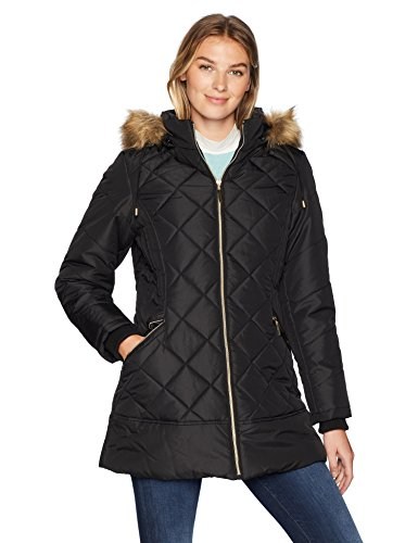 Details Women's Diamond Quilt Puffer Coat with Fashion Faux Fur Trim, Black, - Quilt Puffer