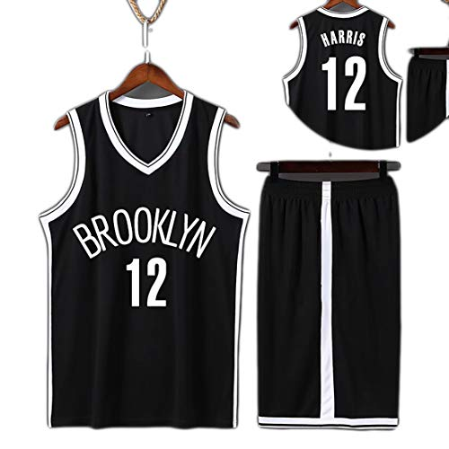 Suitable for Size 11 LRVING Children's Jersey Suit, Size 12 Harris mesh Sleeveless Vest + Shorts Set, NETS Away, Home jerseyv-black12-S