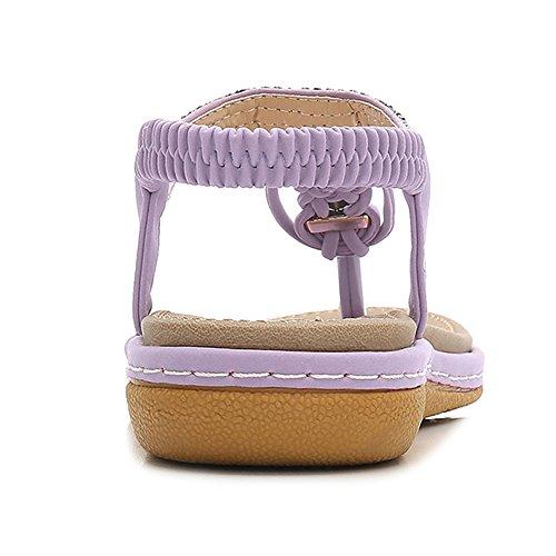 Clip pour Glisser Purple Piscine Strass Cuir Tongs en Plage Chaussures sur Bohème PU De sur Sandales Sangle L'été Womens tdRxvqFwt