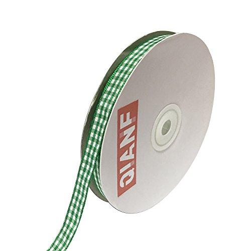 QIANF 3/8 Inch Wide Gingham Woven Edge Ribbon, Checkered Craft, 50 Yards Long Per Spool(Green)