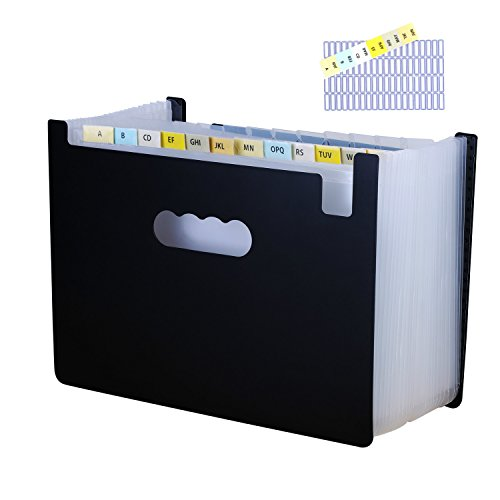Large Capacity 24 Pockets Expanding File Folder with Index Tabs by Uni Collection, Bonus Preprinted Tab Inserts and Adhesive Blank Labels Included, Letter Size/A4, Black