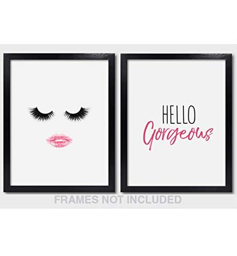 Confetti Fox Hello Gorgeous Wall Art Decor - 8x10 Unframed Set of 2 Pearl Prints - Make Up Lover Gift Lashes Pink Lips Kiss Bathroom Vanity Desk Dorm Room Decoration