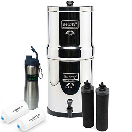 Travel Berkey Water Filtration System 1.5 Gallon-BT4X2-BB w/4 Filters - 2 Black Carbon, 2 Fluoride PF2 Filters bundled w/Berkey Stainless Steel Waterbottle by Berkey