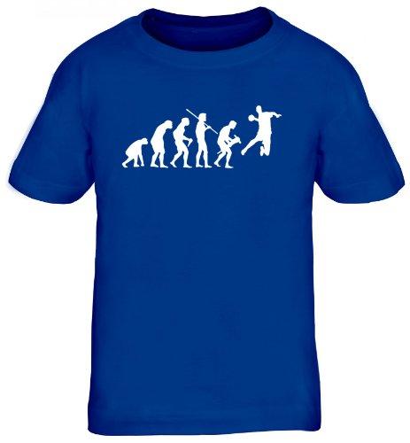 Shirtstreet24, EVOLUTION HANDBALL, WM EM Sport Kinder Fun T-Shirt , Größe: 152/164,royal blau
