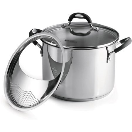 - Tramontina 3-Piece 6-Quart Stainless Steel Lock-N-Drain Covered Stockpot