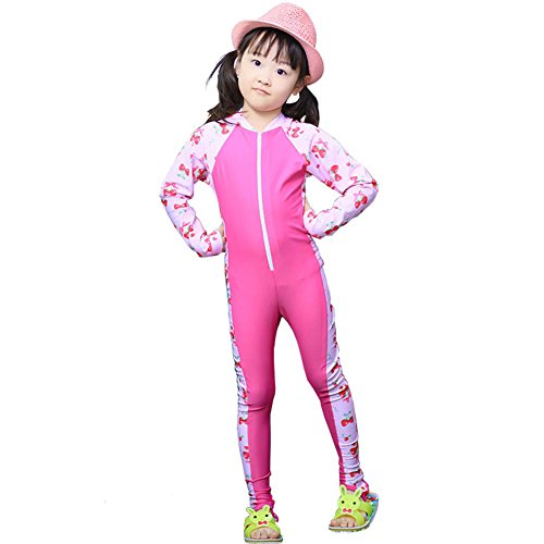 [MAIBU Kids UPF 50+ Sunsuit Long Sleeve Swimwear One-piece Bodysuit Swimsuit Age 3-9years Pink L] (Girls Swimming Costumes Age 13)