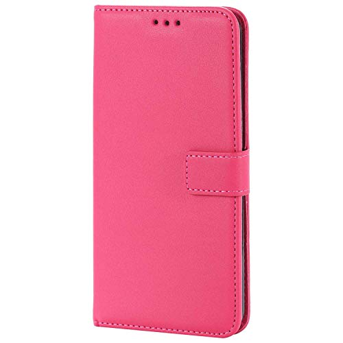 UNEXTATI LG V30 Case, Leather Magnetic Closure Flip Wallet Case with Card Slot and Wrist Strap, Slim Full Body Protective Case (Hot Pink #2) by UNEXTATI (Image #2)