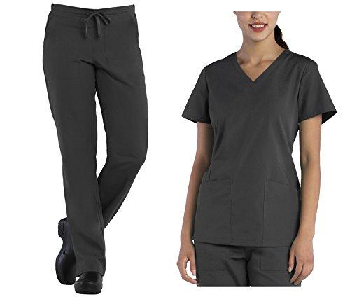 Tru Scrubs Ladies V-Neck Top & Drawstring Half Elastic Pant Scrub Set (XXX-Large, Pewter)