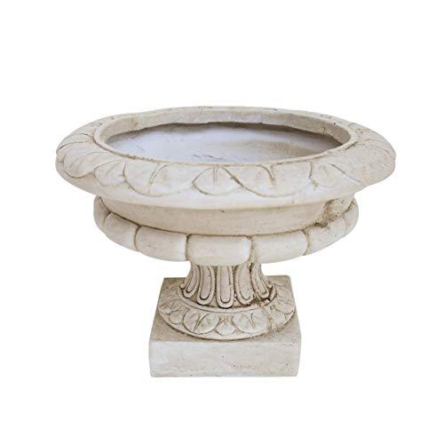 Great Deal Furniture Breenda Chalice Garden Urn Planter, Roman, Botanical, Antique White Lightweight Concrete
