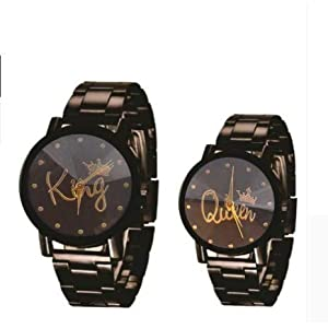 HARMI CREATIVE Analogue King & Queen Dial Couple Watch for Analogue Pack of 2