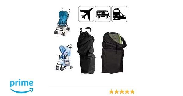 Bolsa protectora para cochecito, bolsa de viaje con correa, bolsa de transporte para el avión (Negro)