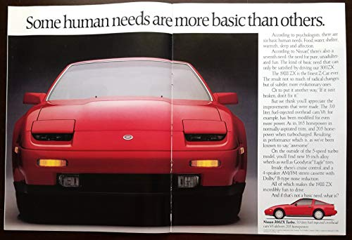 "Magazine Print Ad Insert Booklet: 1988 Nissan Models: 300ZX Turbo, Pulsar NX SE, Maxima GSE, Pathfinder SE,""Nissan Builds Cars and Trucks for the Most Important Race of All - The Human Race"""