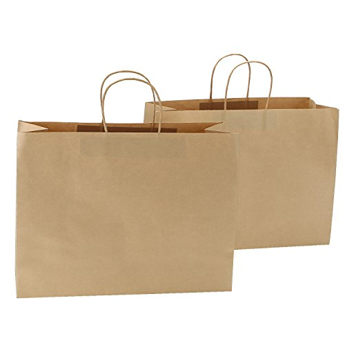 Road 16x6x12 Inches 100 Pcs Large Kraft Brown Paper Bags with Handles, Shopping, Grocery, Mechandise, Party Bags -