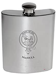 MacOull Family Crest 6oz Polished Pewter Kidney Flask