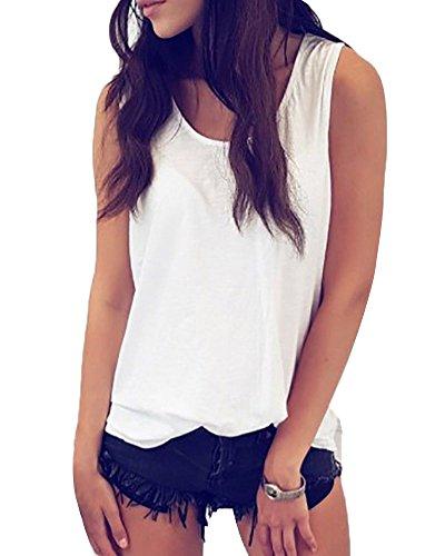 Blanco Redondo Casual Camiseta Estilo Mangas Atrás Mujer Chaleco Sin Cuello Encaje Outwear Chaleco Halo fOqPRXW
