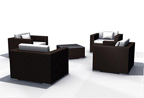 Gartenmöbel Rattan Lounge Espace Set 6a - 4 Sessel Polyrattan, dunkelbraun, inkl. Kissen