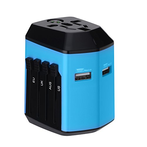 Price comparison product image Travel Adapter with Dual USB Charger & Universal All-in-one Worldwide AC Wall Outlet Plugs for Europe, UK, US, Aus & Asia – Built-in Safety Shutters (Blue)