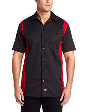Men's Big and Tall Short-Sleeve Work Shirt, Black/English Red, 4X-Large