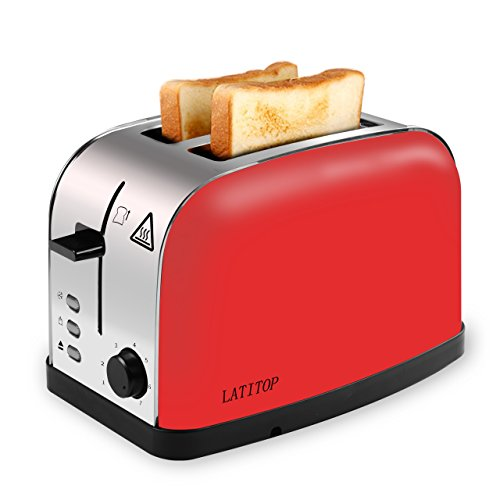 LATITOP Red 2-Slice Toaster Brushed Stainless Steel with Extra Wide Slot for Bagels, Small &Large Bread Slices, Removable Crumb Tray, Led Indicator, Auto Shut-off, 7 Shade Setting, High Lift Lever