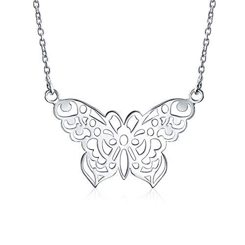 Large Butterfly Necklace Cut Out Filigree Statement Pendant For Women 925 Sterling Silver 16 Inches Cut Out Butterfly Pendant