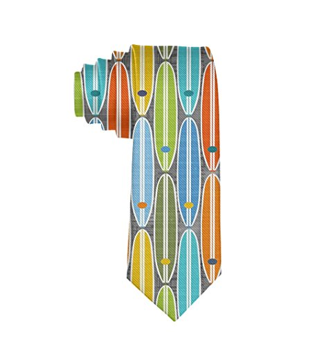 MrDecor Men Rainbow Surfboards Polyester Silk Casual Gentleman Tie Necktie Gift