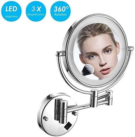 銀バニティミラーLED、倍率で8インチ両面360度旋回拡張可能バニティミラークロム、浴室用の照明とリトラクタブルメイクアップミラ