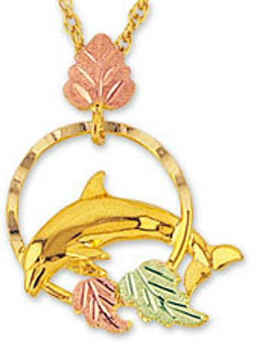 Mirror Polished Dolphin Pendant Necklace, 10k Yellow Gold, 12k Green and Rose Gold Black Hills Gold Motif, ()
