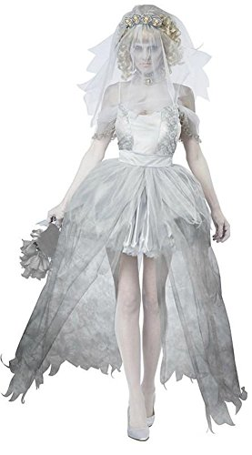 Halloween Ghost Bride Cosplay Costume Women Deluxe Zombie Vampire Masquerade Dress (M)