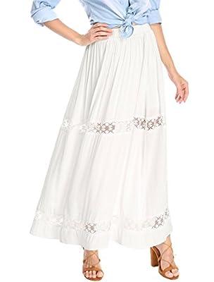 Allegra K Women's Elastic Waist Lace Insert A-Line? Maxi Skirt