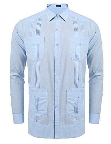 COOFANDY Men's Long Sleeve Guayabera Cuban Shirt Casual Button Down Cotton Linen Shirt Light - Down Button Collar Fused