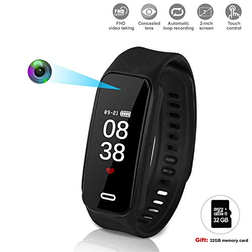 et Camera HD 1920×1080P Wristband Watch Camera Spy Camera with Smart Sport Watch Motion Detection Superb Video Camera Built in 32GB (Black) ()