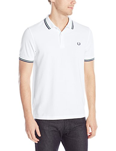 Fred Perry Men's Twin Tipped Polo Shirt-M3600, White/Mid Ivy/French Navy, Small