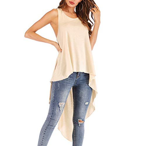 Misaky Summerwear for Women Spring Irregular Ruffles Shirt Sleeveless Long Hem Tops Shirt (Medium, Y_Beige)