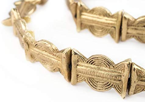 Made in Ivory Coast + Jewelry Making Supplies BAUL-FLT-BRS-216 African Brass Beads 18 Sun Design Brass Baule Beads 25mm